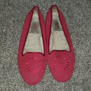UGG Alloway Crimson Red Suede Loafers Flats
